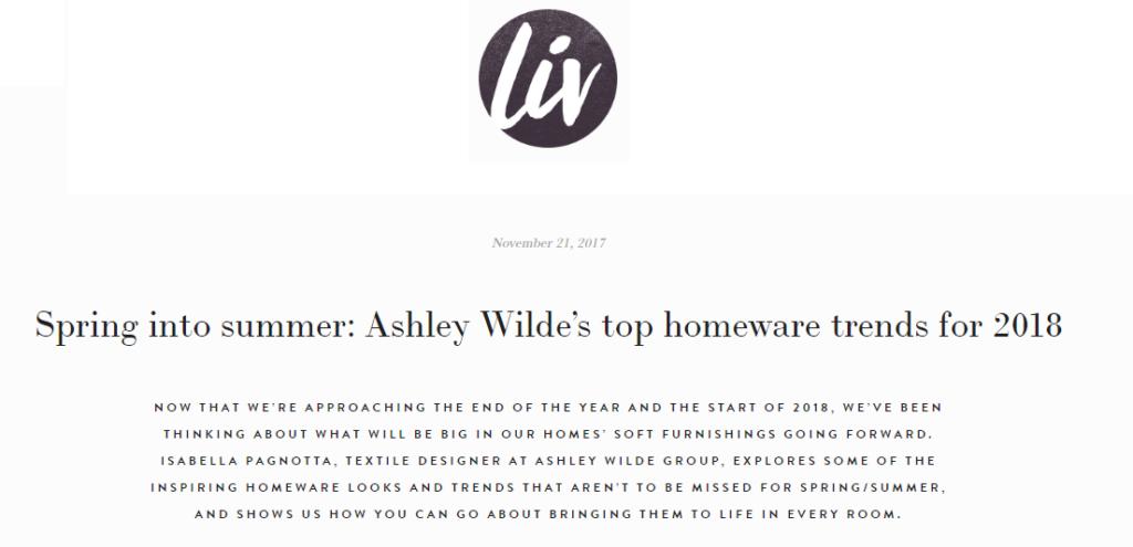 Liv for Interiors Ashley Wilde